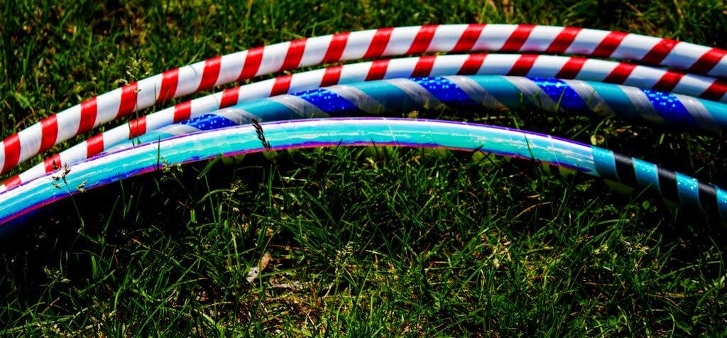 Four shiny hula hoops!