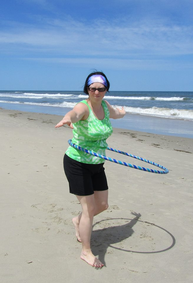 Scruncy face hooping on the Whalehead Beach in the Outer Banks.