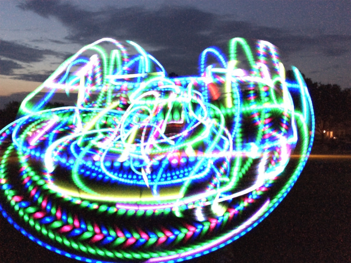 LED Light Trails during LED hooping
