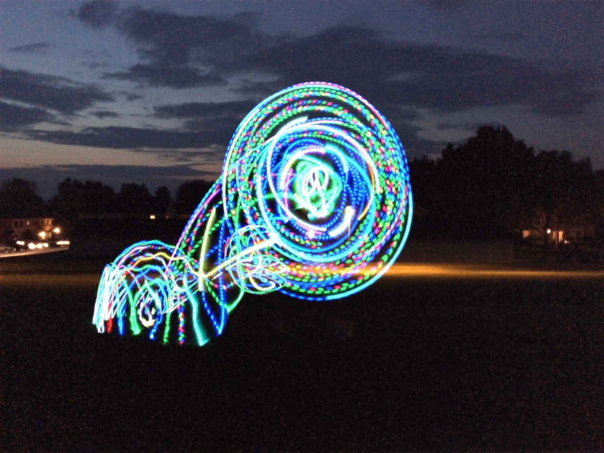 LED Hooping Light Trails. I dropped my hoop here. Turned out cool!