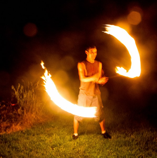 Sterling and his fire contact staff