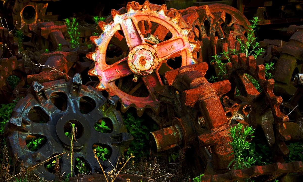 Rusty Gears in a Junkyard. Photo by Jenn Dixon.